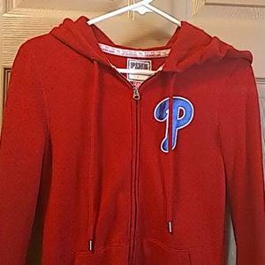 Victoria Secret Pink womens MLB hoodie red XS